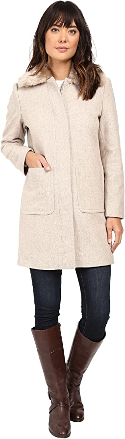 Faux Fur Collar Zip Front Novelty