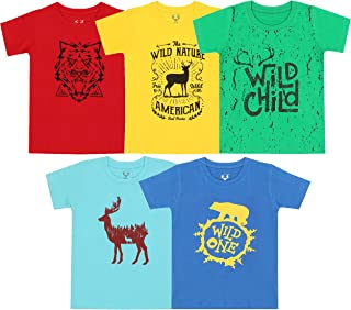 41c2f8f2b Elk Boy's Kids Round Neck Printed Half Sleeve Cotton Tshirt 5 Combo Pack