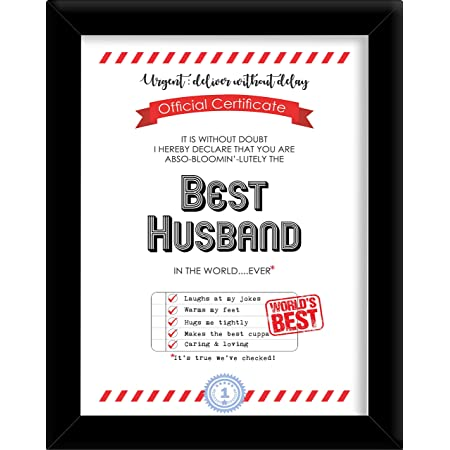 Husband Best In The World Award Personalised Certificate