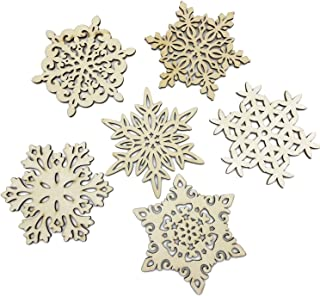 Mziart Set of 6 Snowflake Wood Coasters for Drinks and Coffee, Christmas Cup Mat, Gift Worthy