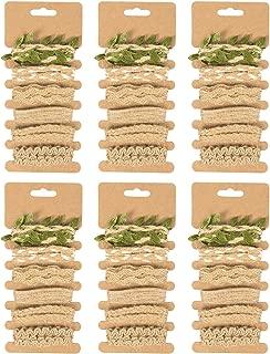 Jute Ribbons Set - 36-Piece Natural Jute Rope Twine Thin Burlap Ribbon - Decorative Jute Twisted String Leaf Twine DIY Crafts, Decoration, Embellishments - Brown, 6 Assorted Designs, 1 Yard Long