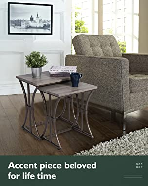 Nesting Table Set of 3-Stacking End Table - Small Coffee Table Set - Modern Accent Table for Living Room - Weathered Oak, KS6