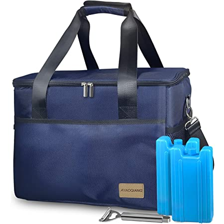 Cool Bag Large, Picnic Cooler Box 28L(48-Can) Big Capacity Waterproof for Camping/BBQ/Family Outdoor Activities/Takeaway Soft Cooler with Ice Boxes for Men Women Kids& Adults