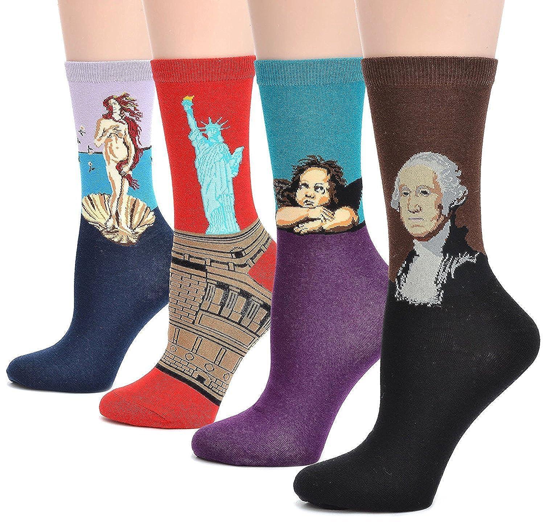 (コナミヤ) Konamiya レディース世界の名画模様靴下アートな靴下有名な絵画柄アートソックス 4足セット
