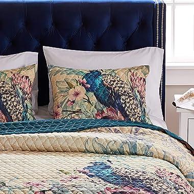 Barefoot Bungalow Eden Peacock Pillow Sham, King 20x36-inch, Ecru