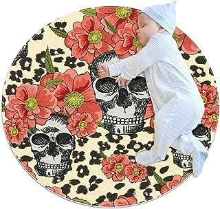 Dödskallar och blommor, barn rund matta polyester överkast matta mjuk pedagogisk tvättbar matta barnkammare tipi tält lekm...