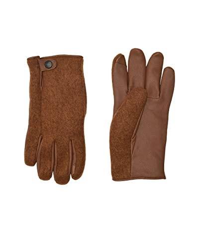 UGG Snap Tab Fabric Tech Gloves with Sherpa Lining (Chestnut) Extreme Cold Weather Gloves