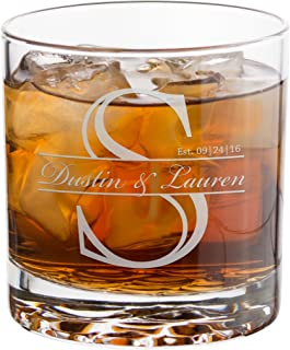 Everything Etched Personalized Whiskey Glass, Monogrammed Old Fashioned Crystal Rock Drinking Glasses 10 Oz – Custom Laser Engraved Bourbon, Scotch Glasses Gifts