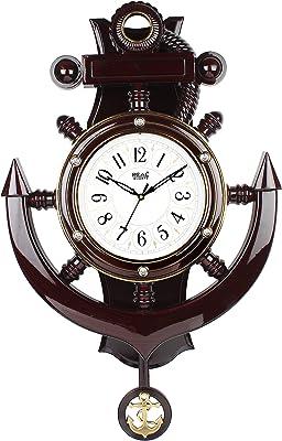 Efinito 20 Inch Designer Plastic Pendulum Wall Clock - Brown