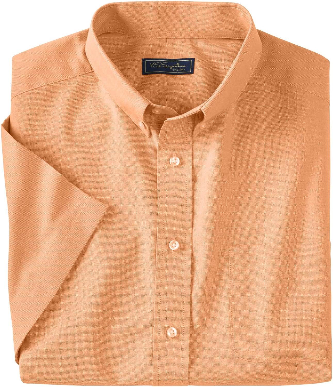 KingSize KS Signature Men's Big & Tall Wrinkle-Resistant Short-Sleeve Oxford Dress Shirt - Tall - 18 1/2, Orange Melon