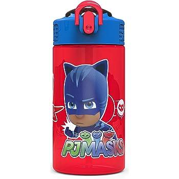 Zak Designs PJ Masks Kids Spout Cover and Built-in Carrying Loop Made of Plastic, Leak-Proof Water Bottle Design (16 oz, BPA-Free, Catboy & Owlette & Gekko)