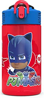 Zak Designs PJ Masks Kids Spout Cover and Built-in Carrying Loop Made of Plastic, Leak-Proof Water Bottle Design (16 oz, B...