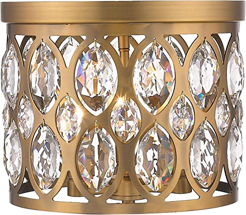 """lowest Z-Lite Dealey 3 Light 12"""" Round Clear Crystal Steel high quality Flush Mount discount in Brass outlet online sale"""