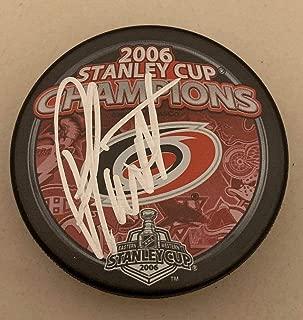 Peter Laviolette Autographed Puck - Carolina Hurricanes 2006 Stanley Cup Champs Canes - Autographed NHL Pucks