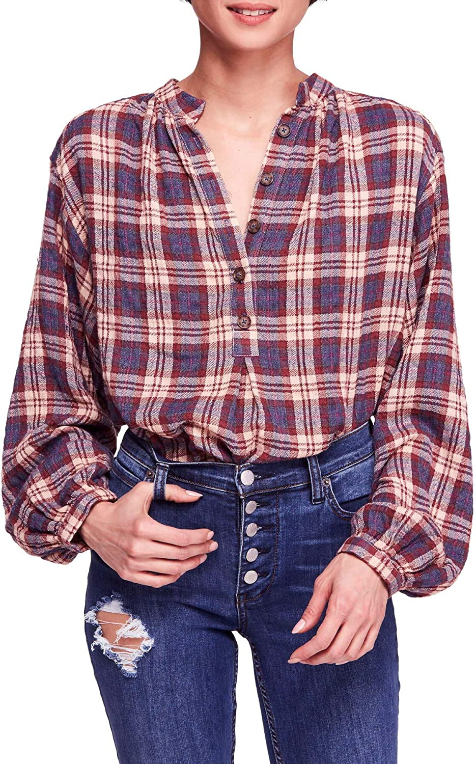 Free People Womens Northern Bound Plaid Button Up Shirt
