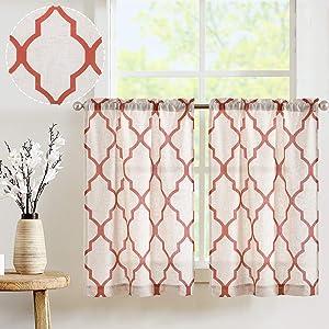 JINCHAN Kitchen Curtains Moroccan Print Tier Curtains for Cafe Curtains Kitchen Window Curtain Sets for Bathroom 1 Pair 26