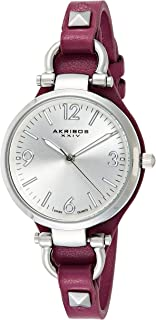 Akribos XXIV Women's Classic Swiss Quartz Silver/Purple Watch - Engraved Sunburst Concentric Circles Dial - Slim Genuine Calf Leather with Metal Accents - AK761