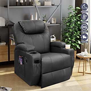 Furniwell Recliner Chair Massage Leather Living Room Chair Home Theater Seating Heated Overstuffed Single Sofa 360° Swivel...