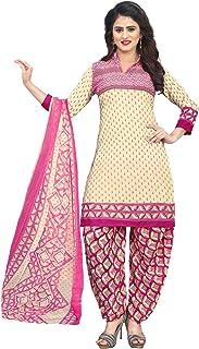 AKHILAM Women's Crepe Salwar Suit Material (Cream_Free Size)