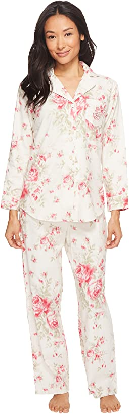 LAUREN Ralph Lauren - Petite Folded Brushed Twill Notch Collar Pajama