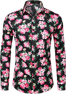 ZEROYAA Men`s Hipster Lightweight Slim Fit Long Sleeve Casual Floral Button Down Shirt
