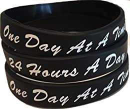 Set of 3 Black One Day At A Time / 24 Hours A Day Silicone Wrist Bands 2.5