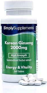 Ginseng coreano 2000mg - ¡Bote para 1 año! - Apto para veganos - 360 comprimidos - SimplySupplements