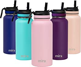 MIRA Stainless Steel Water Bottle with Straw Lid | Vacuum Insulated Metal Thermos Flask Keeps Cold for 24 Hours, Hot for 12 Hours | BPA-Free Straw Cap 32 oz (960 ml, 1 qt) Taffy Pink