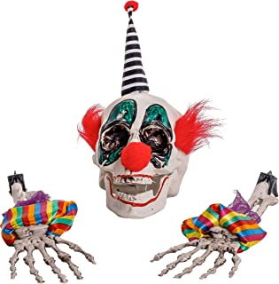 Halloween Haunters Scary Circus Clown Skull with Skeleton Bone Arms and Hands Groundbreaker Yard Stakes Prop Decoration - Spooky Ghoul Smile Face - Haunted House Graveyard, Lawn Entryway Party Display