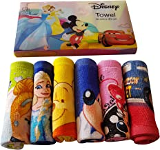 Sassoon Disney Printed Assorted Cotton Face Towel Set of 6 with Gift Box- Multicolor (30cm X 30cm)
