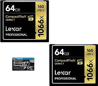 Lexar 64GB Professional 1066x Compact Flash Memory Card (LCF64GCRBNA1066) 2-Pack Bundle + TheImagingWorld Microfiber Cloth