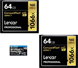 Lexar 64GB Professional 1066x Compact Flash Memory Card (LCF64GCRBNA1066) 2-Pack Bundle + TheImagingWorld Microfiber Cloth