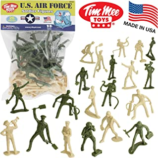 TimMee AIR FORCE Plastic Army Men - 26pc Green Tan Toy Soldier Figures US Made