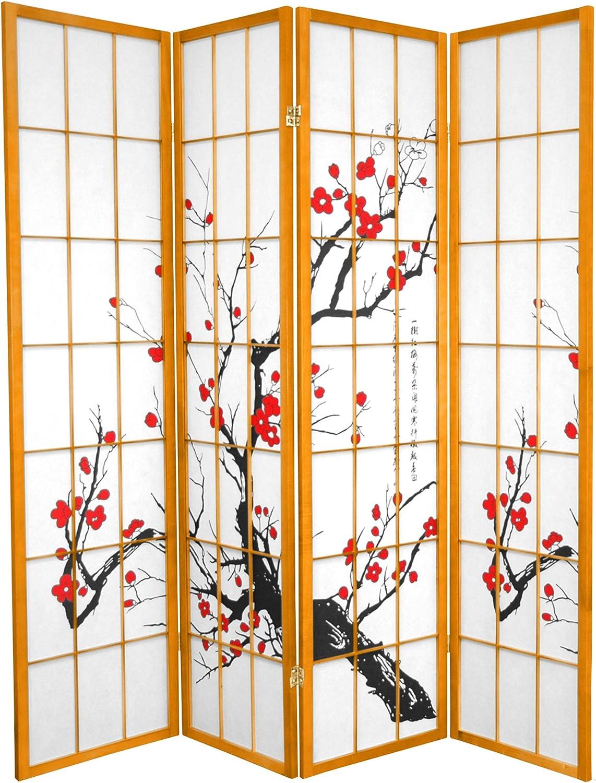 Oriental Furniture 6 ft. Tall Flower Divider Ranking TOP13 Blossom - Selling rankings Honey 4