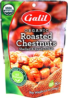 Galil Organic Roasted Chestnuts - 3.5 Oz Bags (Pack Of 3) - Shelled - Ready To Eat Snack, Gluten Free, All Natural, No Preservatives - Great for Snacking, Baking & Cooking - 100% Vegan