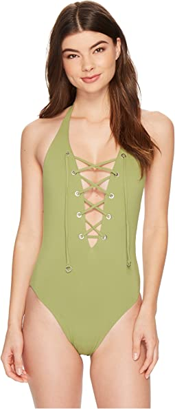 Seafolly - Active Lace-Up Halter Maillot