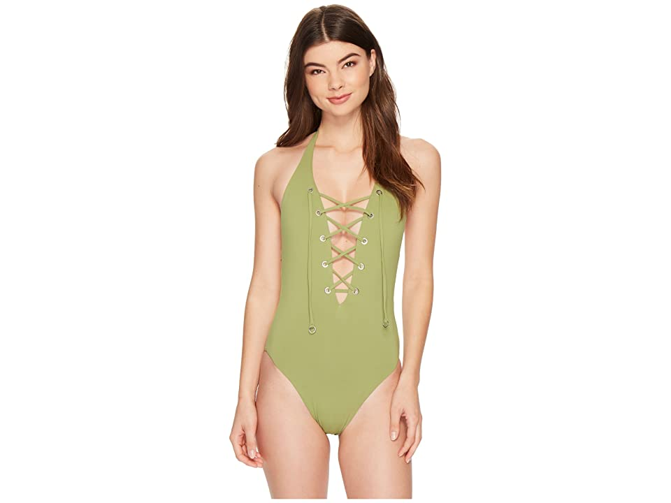 Seafolly Active Lace-Up Halter Maillot (Moss) Women