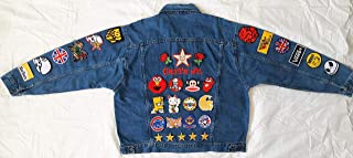 Hand reworked vintage jean jacket with patches/upcycled custom jacket men size XL