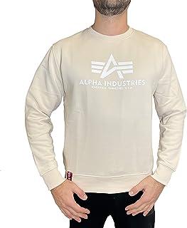 ALPHA INDUSTRIES Men's Sweater Basic Logo Jet Stream White/White
