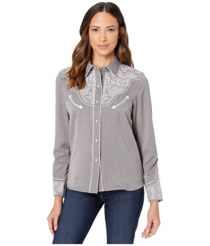 Scully  Embroidered Western Shirt (Grey) Womens Clothing