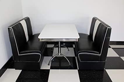 American Diner Furniture 50s Style Retro White Table And Black Nashville Booth Set Amazon Co Uk Home Kitchen