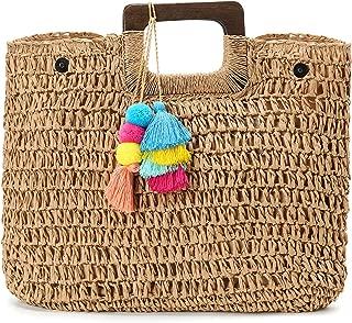 Womens Large Straw Bags Top Handle Beach Tote Bag Hobo Summer Handwoven Handbag Purse