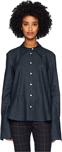 Denim Chambray Shirt w/ Cross-Back