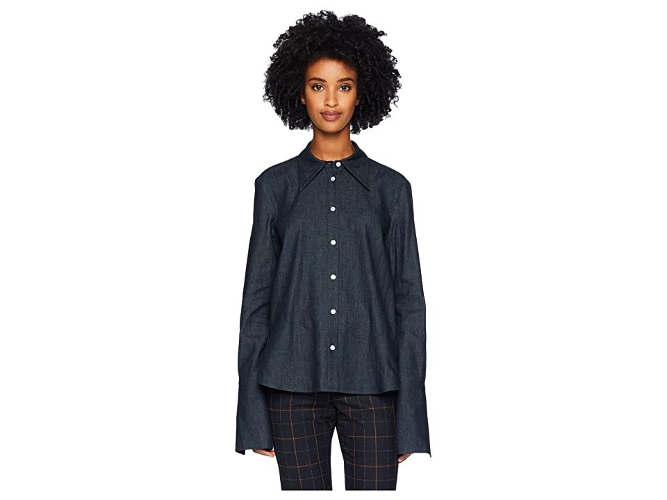 Image of Adam Lippes Denim Chambray Shirt w/ Cross-Back (Dark Indigo) Women's Clothing