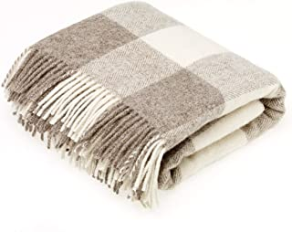 Bronte by Moon Natural Collection - Pure New Wool - Checkaboard - Beige - Throw Blanket