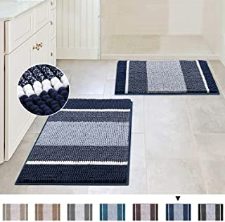 Extra Thick Chenille Striped Pattern Bath Rugs for Bathroom Non Slip - Soft Plush Shaggy Bath Mats for Bathroom Floor, Ind...