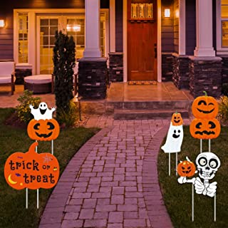 Halloween Yard Sign Stakes Decorations - Yard Sign & Outdoor Lawn Props Decorations Family Friendly Party Plastic Décor, Pumpkin Ghost Monster Yard Sign Stakes For Halloween Decorations Outdoor, 8pcs