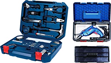 Bosch 2.607.002.790 All-in-One Metal Hand Tool Kit (Blue, 108-Pieces) + Bosch Freedom Kit GSB 550-Watt Impact Drill Kit (Blue, 90-Pieces)