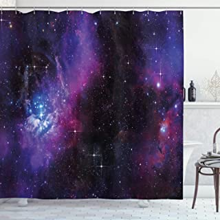 Ambesonne Space Shower Curtain, Nebula Dark Galaxy with Luminous Stars and Cosmic Rays Astronomy Explore Theme, Cloth Fabric Bathroom Decor Set with Hooks, 84