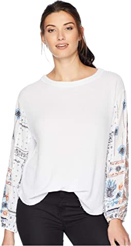 Heathered Rayon Waffle Crew with Printed Sleeves